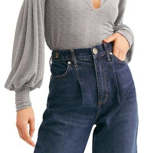 NEW Free People High Rise Pleat Front Wide Jeans